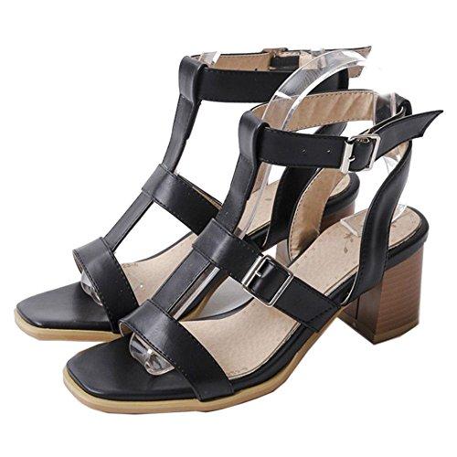 COOLCEPT Zapato Mujer Tacon Ancho alto Punta Abierta Al Tobillo Cutout Sandalias Negro