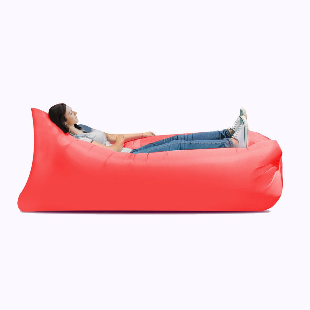 JYKJ Inflatable bed Inflatable sofa bed, inflatable bed, portable waterproof leakproof sofa bed, travel goods, camping supplies, beach travel camping picnic chaise longue sofa bed (Color : Red) by JYKJ