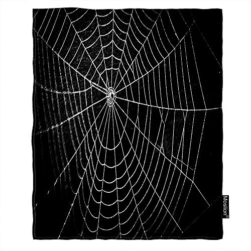 Moslion Halloween Throw Blanket Horror Spider Web Net with Raindrop Dew Scary Insect Bat Blanket Home Decorative Flannel Warm Travel Blankets 30x40 Inch for Pet Dog Cat Black White ()