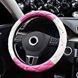 Amuahua Car Steering Wheel Cover, 38CM/15 Universal PU Leather DAD Cystal Diamond Steering Wheel Cover Four Seasons Steering Cover for Women & Girl(Pink&White)