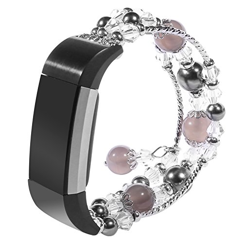 Band, Tomazon Fashion Pearl Natural Stone Elastic Stretch Bead Bracelet Bands Replacement Women Girls Dressy Wristbands Accessories for Fitbit Charge 2, Pink, Gray, White (Grey) (Metal Faux Pearl)