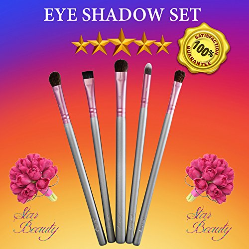 Eye Shadow Brush Set ESSENTIALS Star Beauty High Quality Synthetic Brushes for Eye Shadow Crease Application-Blending-Shading-Dabbing-Filling-Defining. BEST SELLER to achieve glamorous looks. (Eye Liner Defining Duo Shadow)