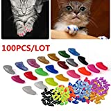 100Pcs Colorful Cats Paws Grooming Nail Claw Cap + 5Pcs Adhesive Glue + 5Pcs Applicator Soft Rubber Pet Nail Cover