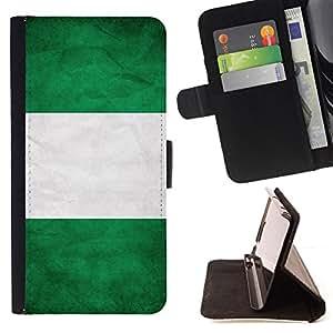 KingStore / Leather Etui en cuir / Apple Iphone 5C / Nacional bandera de la nación País Nigeria