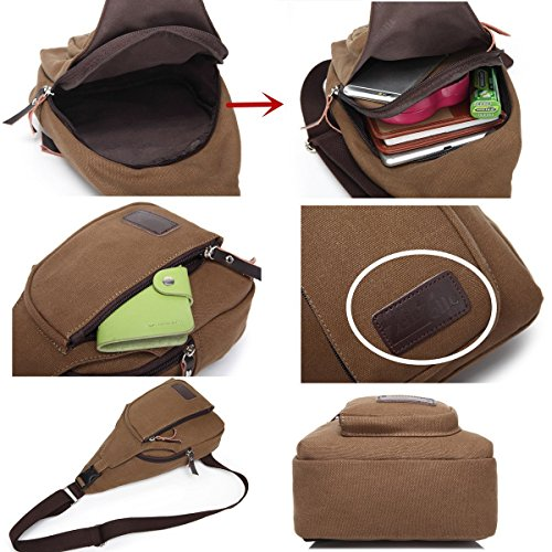lifeyz Mini hombro pecho Casual Deportes bandolera bolsa de lona para al aire libre viajar bicicleta cinturón bolso Cruz Cuerpo unidades café