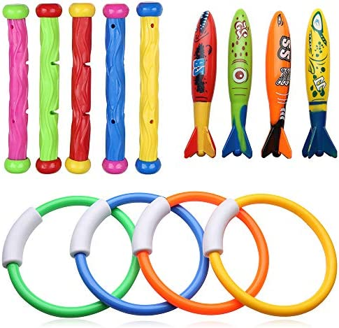 Powanfity スイミングプールおもちゃ 4&ダイビングリング/5&ダイビングスティック/4&魚雷サメ 潜水用 水泳 訓練 子供用 (13点セット)