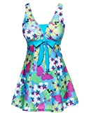 Wincolor Women's One Piece Cute Floral Printed Swimdress Bathing Suits