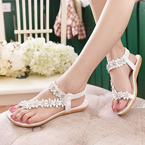 Bohême Eté Blanc Femmes Sandales Fleur Perles Vovotrade® Flip Plates Chaussures Flop 4TRqpFxOnx