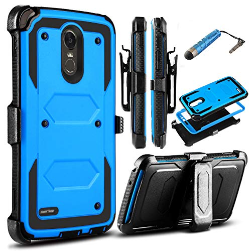 LG Stylo 3 Case,KooJoee LG Stylo 3 Plus Case, Heavy Duty Shockproof Dual-Layer Holster Armor Rugged Protection Case[Belt Clip][Kickstand] W/Built-in Screen Protector for LG Stylo 3 Stylo 3 Plus Blue