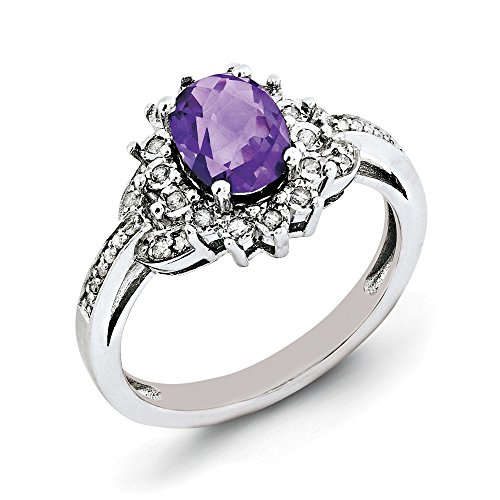 925 Sterling Silver Amethyst and Diamond Engagement Ring 1.25 ct