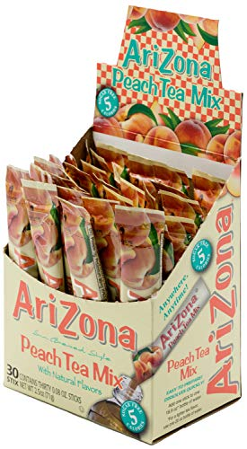 AriZona Peach Iced Tea Iced Tea Stix Sugar Free, 30 Count Box, Low Calorie Single Serving Drink Powder Packets, Just Add Water for a Deliciously Refreshing Iced Tea Beverage Drink Mix (Best Bottled Teas To Drink)