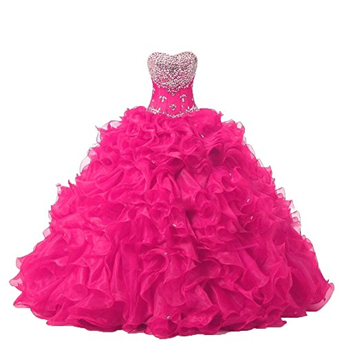 Gown Beads Diandiai Organza Hot Dresses Women's Ball Sweetheart Pink Quinceanera with 1tAqt8