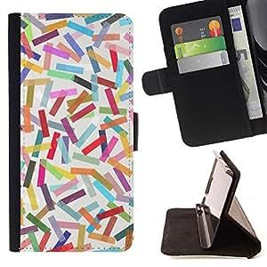 For Sony Xperia M4 Aqua Case , Modelo colorido abstracto en colores pastel Líneas- la tarjeta de Crédito Slots PU Funda de cuero Monedero caso cubierta de piel