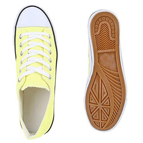 Gelb Herren Low Sneaker Stiefelparadies Unisex Flandell Übergrößen Damen PqwPH7f0