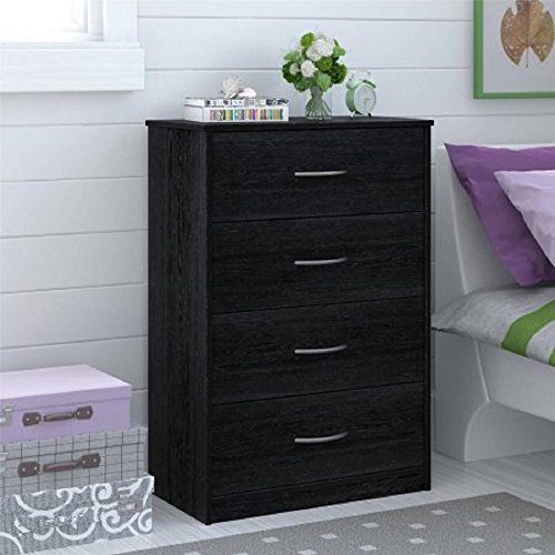 Traditional and Easy Glide 4 Drawer Dresser (Black Ebony)