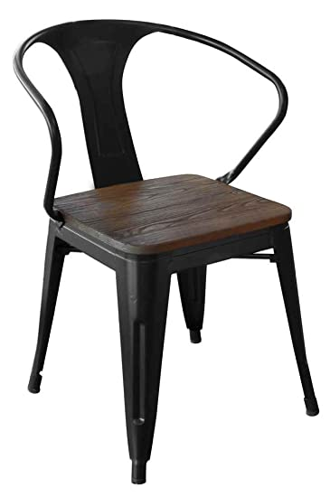 Loft Black Metal Dining Chair With Wood Seat Set   Set Of 4