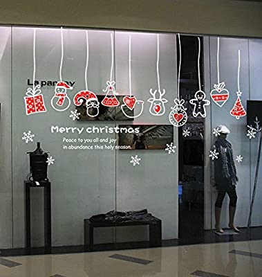 """DNVEN (59"""" w X 24"""" h Merry Christmas Peace to You All and Joy in Obundance Curtain Ornaments This Holy Season Snow Flake Ornaments Wall Decals Vinyl Removable Wall Stickers Bedrooms Windows Christmas"""