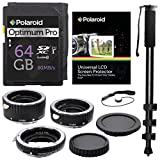 Xit XTETC for Canon SLR Cameras Auto Focus Macro Extension Tube Set, with Polaroid Optimum-Pro 64GB Class 10 SD Card - SDXC 80MB/s, 72'' Monopod, Memory Card Wallet, and Accesory Bundle