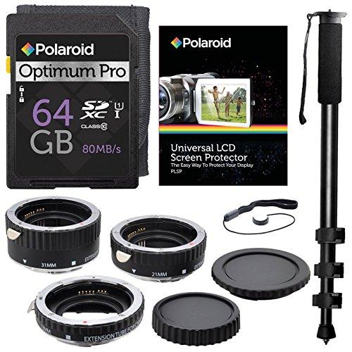 Xit XTETC for Canon SLR Cameras Auto Focus Macro Extension Tube Set, with Polaroid Optimum-Pro 64GB Class 10 SD Card - SDXC 80MB/s, 72