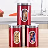 Whitelotous 3 Pcs Stainless Steel Tea Coffee Canisters Red Food Storage Canister