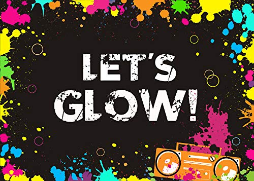 Daniu Glow Neon Party Backdrop Let's Glow Splatter Photography Background 7x5ft Vinyl Glowing Party Backdrops Banner Decoration Neon Party Supplies