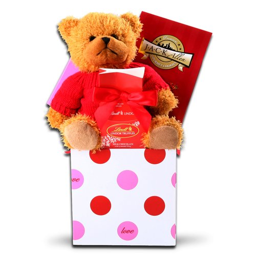 Plush Cuddles and Sweets Valentines Day Gift Basket for Her