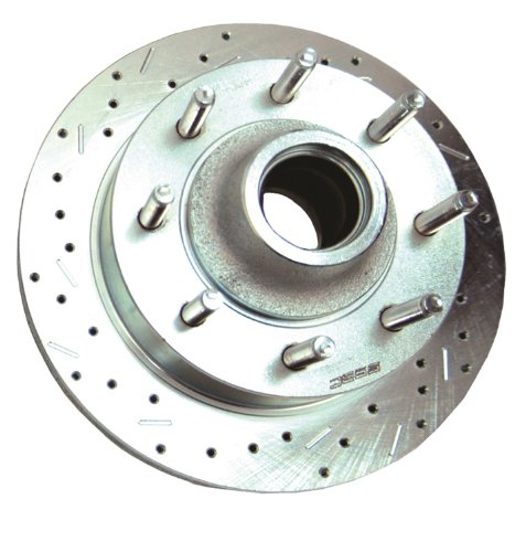 SSBC 23441AA3L Drilled Slotted Plated Front Driver Side Rotor for Chevy 3/4 Ton 2WD 8 Lug