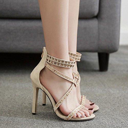 Roman Women Suede Spring Wedding Shoes Black High GAOLIXIA Apricot Court Sandals Cross Ladies Straps Ankle Strap Apricot Rhinestone Summer Pumps Heels Party dAXqxxt