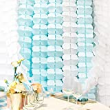 Hanging Garland, Pack of 8 White and Blue Four-Leaf Clover Tissue Paper Garland, Party Streamers for Party Backdrop Party Decorations, 11 Feet/3M per Each (White+ Blue)