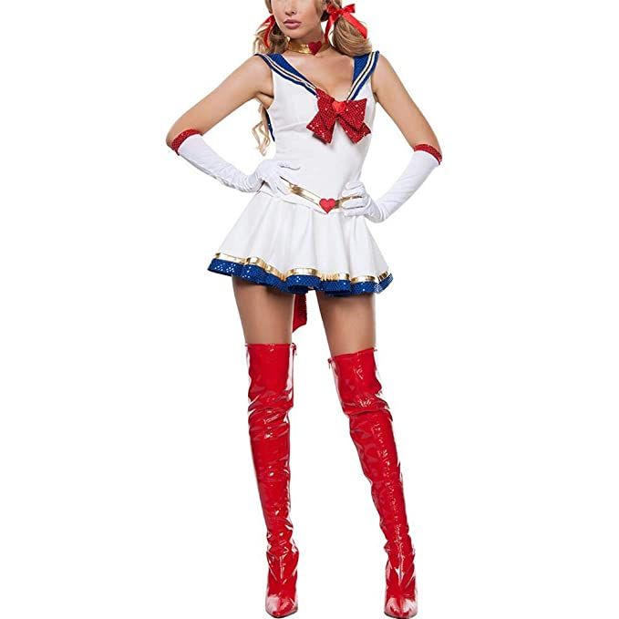 iBaste Moda Mujer 2018 Blanco Disfraz de Halloween Sexy Sailor Moon Cosplay  Movie Girl Traje de Dibujos Animados de Mercurio  Amazon.es  Ropa y  accesorios 3f54484212c1