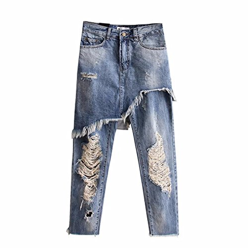 Stylish Irregular Denim Jeans Ripped Bleached Hole Washed Zip Pocket Casual Street Women Slim Trousers Femme (Size:M)