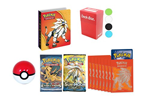 Pokemon Mini Binder Collector's Album + 2 Booster Pack + 65 Sleeves + Deck Box + Pokeball (Pokemon Mini Card Binder)