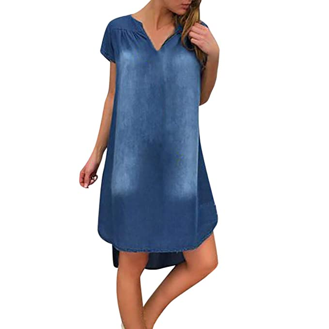 BCDshop_Dress Clearance Womens Loose V Neck Denim Shirt Dress Distressed  Short Sleeve Plus Size Jeans Dresses (XL, Blue)