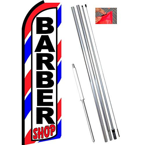 BARBER SHOP (Border) Flutter Feather Flag Bundle (11.5' Tall Flag, 15' Tall Flagpole, Ground Mount Stake)