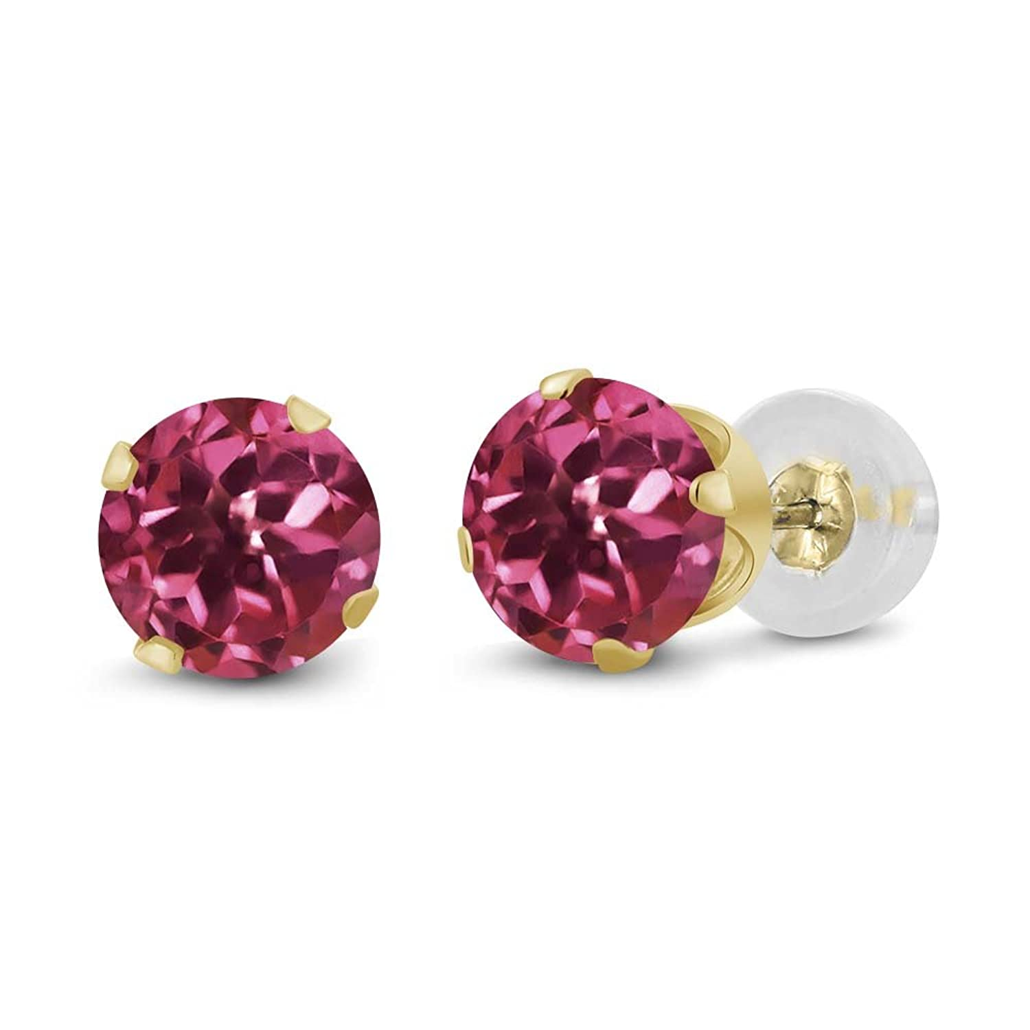 0.48 Ct Round 4mm Pink Tourmaline 14K Yellow Gold Stud Earrings