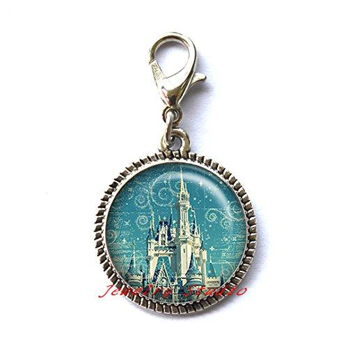 Magic Kingdom Zipper Pull, Magic Kingdom Charm Zipper Pull, castle Charm Zipper Pull, princess Charm Zipper Pull, fairy tale castle Zipper Pull, fairy tale jewelry-HZ00451