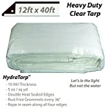 Heavy Duty Clear Greenhouse Tarp – 12ft x 40ft – Premium quality 10 mil with 3×3 Mesh weave for added strength – UV coated protection for outdoor camping RV Truck and trailers