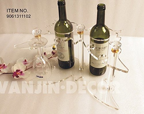 Acrylic 2 bottles wine rack with wine glass holder Butterfly wine shelf for creative gift Fashion decor KD packing