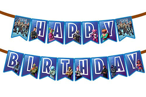 Gaming Happy Birthday Party Banner With Blue Personalized Birthday Flags Banner For Birthday Party -