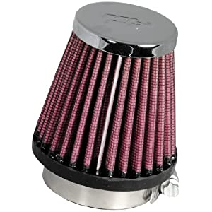 K&N RC-1060 Universal Clamp-On Air Filter: Round Tapered; 1.938 in (49 mm) Flange ID; 3 in (76 mm) Height; 3 in (76 mm) Base; 2 in (51 mm) Top