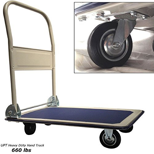 - Lavohome Super Heavy Duty Platform Truck Hand Cart - Folding Collapsible Warehouse Dolly - 660 Lbs Capacity