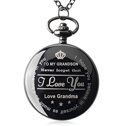 Pocket Watch ''To My GrandSon - Love Grandma(Love Grandpa)''Necklace Chain From Grandparents to Grandson Gifts with Black Gift Box By Qise (Love GrandMa Black) by Qise