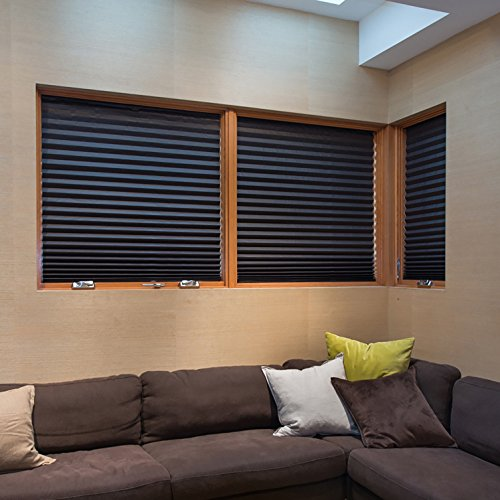 "PAPER PLEATED SHADE 36"" x 72"" Window Blind Blackout Light Block Cordless Black"