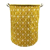 Mziart Collapsible Laundry Basket Hamper Cotton Fabric Nursery Toy Storage Basket for Bedroom Nursery Dorm Closet (Yellow Lattice)