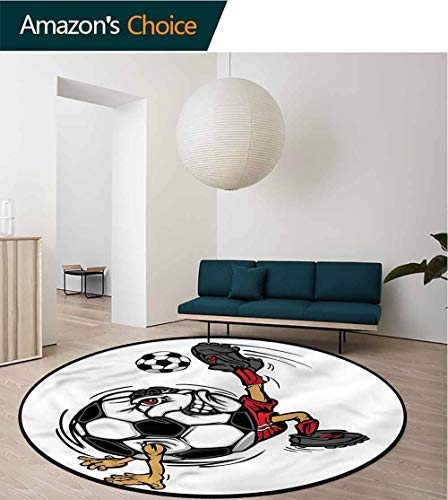 RUGSMAT Sports Round Rug Kid Carpet,Soccer Player Cartoon Mascot Floor Mat Home Decor Round-55