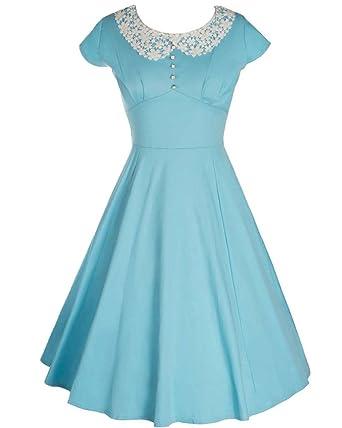 ZhuiKun Vestido Vintage Años 50 con Falda de Vuelo Y Cuello con ...