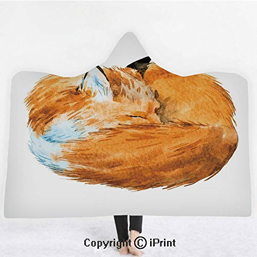 "Animal Decor 3D Print Soft Hooded Blanket Boys Girls Premium Throw Blanket,Cute Fox Sleeping Deep Funny Creature Kids Nursery Watercolor Art Design,Lightweight Microfiber(Kids 50""x60"") Apricot White ()"