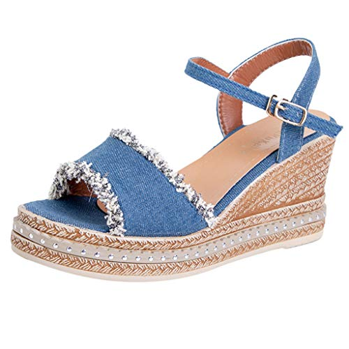 (Save 15% BBesty Women's Slope with Peep Toe Fish Mouth Breathable Beach Sandals Rome Word Buckle Strap Wedges Shoes Blue)