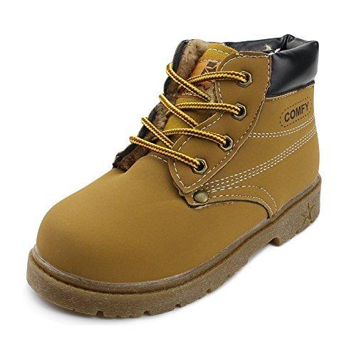 5ad74a822616 Chiximaxu Maxu Kid s Rain Boots Warm Combat Shoes Yellow