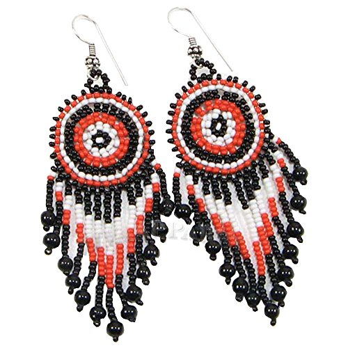 La Vivia Handmade Coral Black White Seed Beads Round Earrings - E-16-SB-54